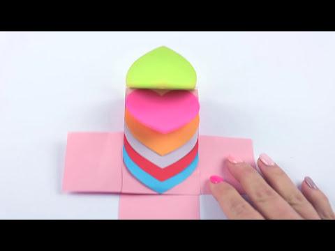 видео: Водопад сердечек-ДВИГАЮЩАЯСЯ открытка своими руками😉