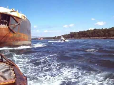 Towing light oil barge, Cape Cod Canal