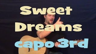 Sweet Dreams (Eurythmics) Easy Strum Guitar Lesson - Chord How to Play Tutorial