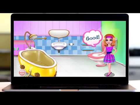 baby doll clean a bathroom and wash head
