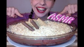 ASMR eating Dessert: Chocolate Mousse Cake with Strawberry Jello and Biscuits(NO TALKING)