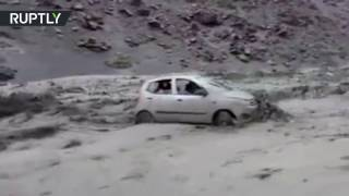 Violent mudslide in Peru sends car slamming into trailer, 3 left dead