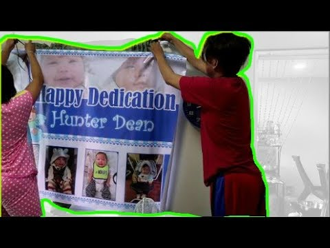 Preparing for Hunter's Dedacation and Christening!
