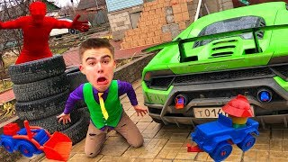 Red Man stuffed the Exhaust Pipe Toy Car VS Mr. Joe on Lamborghini Huracan VS A LOT OF Tire for Kids