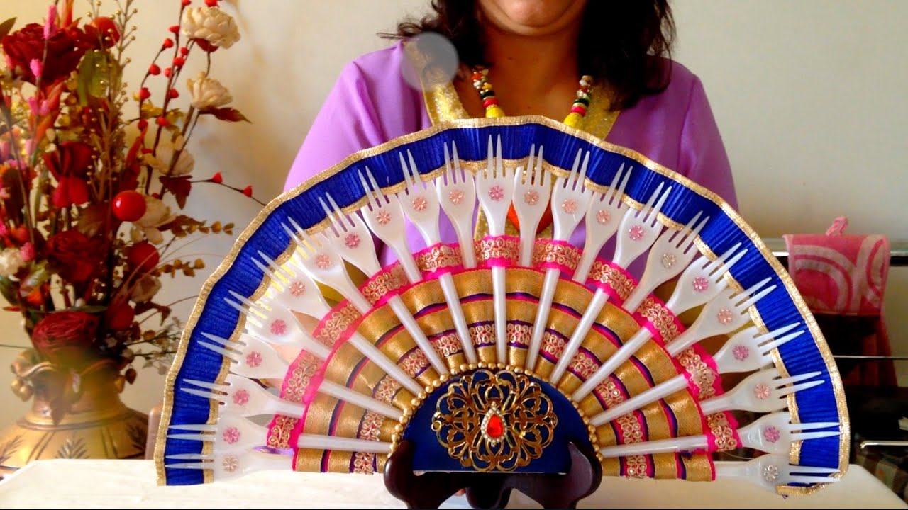 How to make a plastic fork fan best from waste youtube for Home decorations from waste products