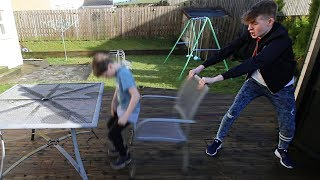 CHAIR PULLING PRANK ON LITTLE BROTHER!