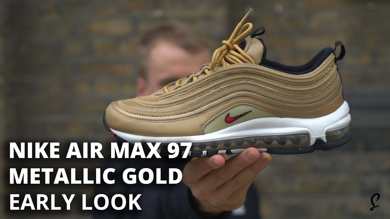 f3b58ab17d Air Max 97 Metallic Gold Early Look and How To Get - YouTube