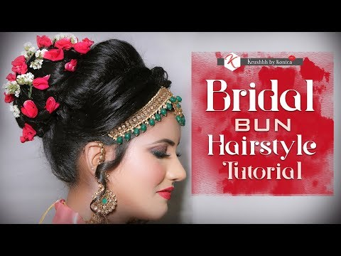 Bridal Bun Hairstyle | Bun With Flowers | Hair Updo Tutorial | Krushhh By Konica thumbnail
