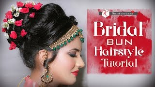 Bridal Bun Hairstyle | Bun With Flowers | Hair Updo Tutorial | Krushhh By Konica
