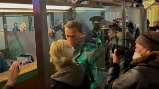 Moment Alexei Navalny detained in airport after returning to Russia