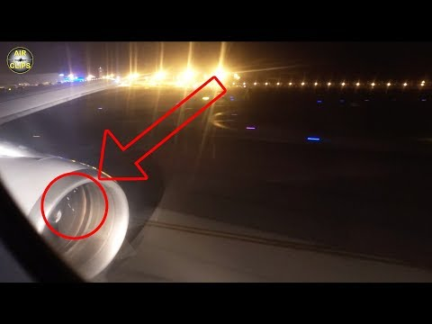 FIRE SPARKS in massive CF6 Engine!!! A300-600 sucking up Dirt during Reverse Thrust! [AirClips]