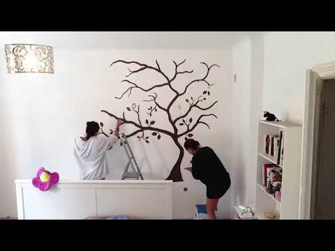 wandtattoo wandbemalung baum schlafzimmer youtube. Black Bedroom Furniture Sets. Home Design Ideas