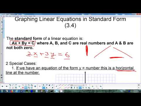 34 Graphing Linear Equations In Standard Form 12 4 17 Youtube