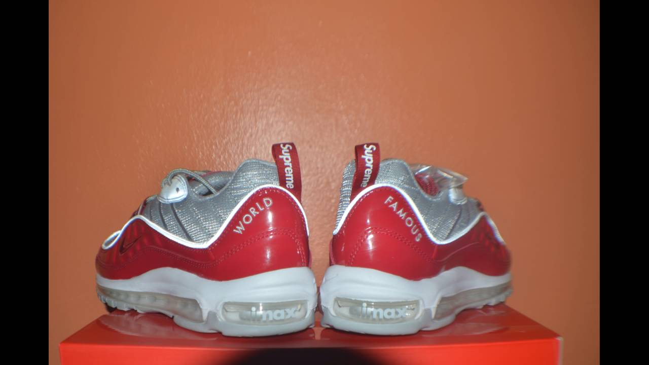 best service 157cd 27485 ... sale nike supreme air max 98 unboxing review red colorway youtube 8c062  eaed2
