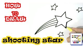 How to draw a  shooting star easy steps, step by step for children, kids, beginners