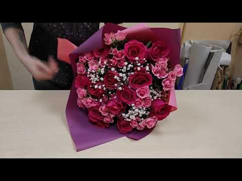 Как сделать букет из розы, обучающее видео № 365,часть 3