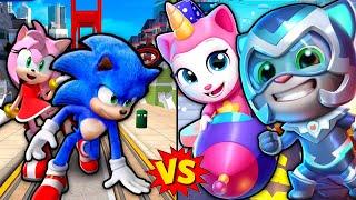 ГОВОРЯЩИЙ ТОМ ПОГОНЯ ГЕРОЕВ VS  Бег за Золотом Против Sonic Dash. Мальчики против девочек