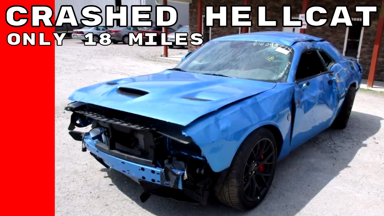 Crashed Dodge Challenger Hellcat With Only 18 Miles Youtube