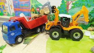 Работа погрузчиков. Машинки расчищают лес. Видео для детей. Желтый экскаватор