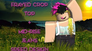 ROBLOX - Frayed Crop Top + Mid-Rise Jeans w/ Backpack
