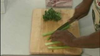 Creole Seafood Stew Recipe : Chop Celery & Parsley For Seafood Stew