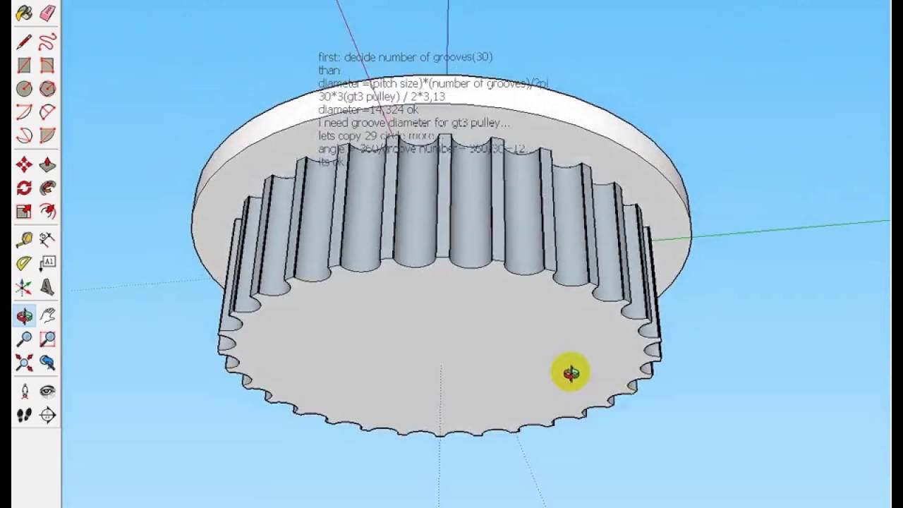 Sketchup Gt2 3mm Pulley Drawing Youtube Timing Belt Cad
