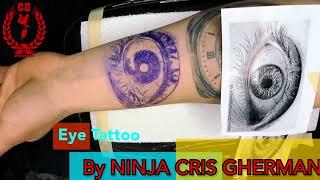 BLACK AND GREY  REALISTIC EYE  tattoo BY NINJA the EYE CRIS GHERMNAN # CGTV