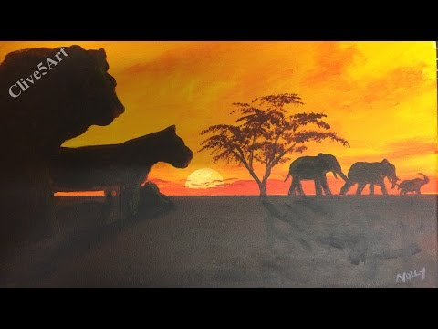 Lions Of Africa | Acrylic painting |painting tutorial |step by step acrylic | #clive5art