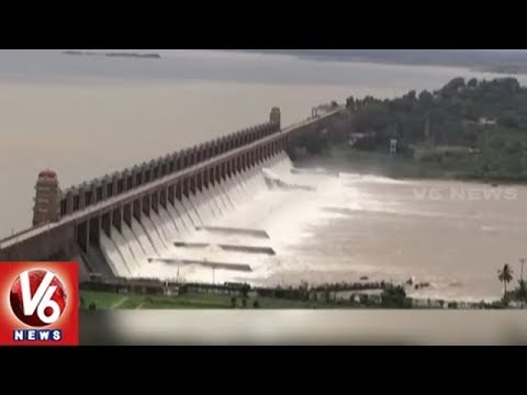 After 2014, Tungabhadra Dam Gates Lifted Due To Heavy Inflow | V6 News