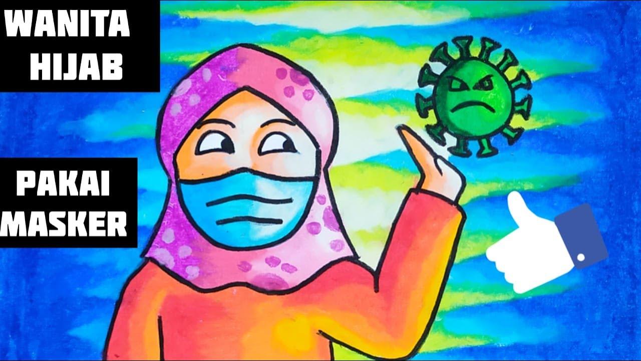 Tutorial Menggambar Wanita Hijab Pakai Masker Anti Corona Bersama Kak Yudha Youtube