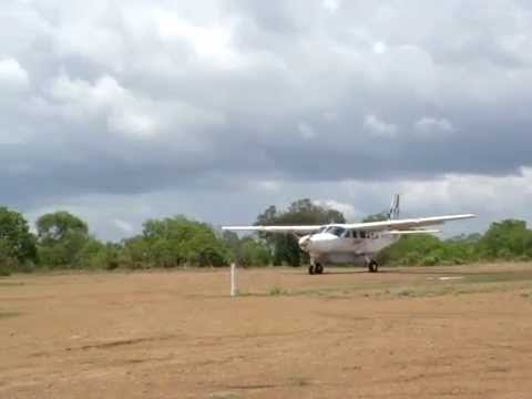 Taxi and take off from one of the Selous' airstrips