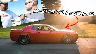 HELLCAT OWNER WANTS TO RACE MY HELLHORSE 2019 TWIN TURBO MUSTANG GT | ITSJUSTA6 SATAN FIRST PASS