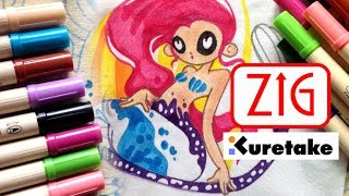 Обзор маркеров ZIG Fabricolor   Kuretake   Как сделать рисунок на ткани