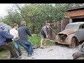 Заброшенный гараж с машиной, 45 лет простоя,  Москвич 401 1954 г .первый запуск .