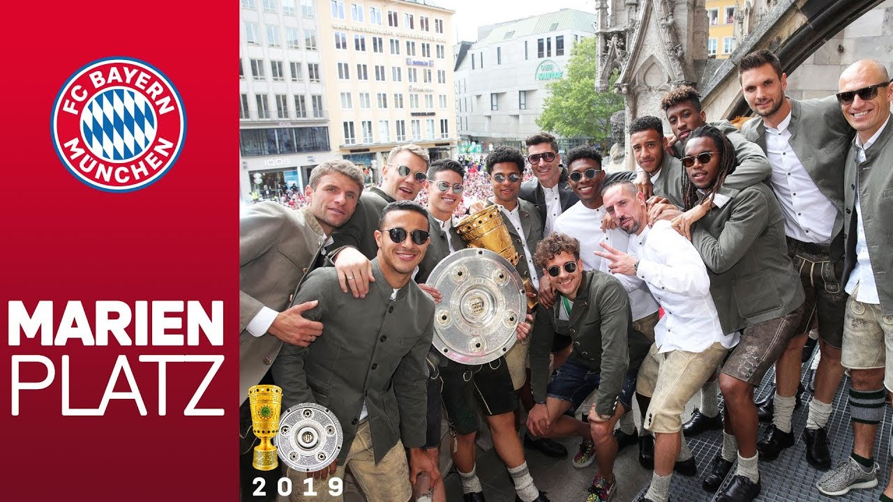 Fc Bayern Double Celebration At Marienplatz