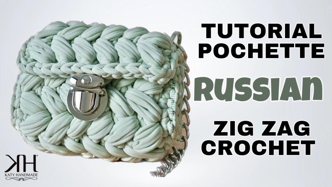 Tutorial Pochette Uncinetto Punto Puff Zig Zag Crochet Russian