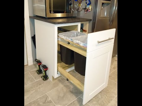 How to convert any kitchen cabinet into pull out wastebasket & How to convert any kitchen cabinet into pull out wastebasket - YouTube