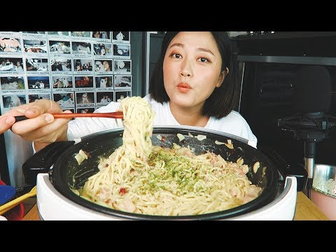 (recipe-mukbang)-how-to-make-'-bacon-carbonara-pasta'-mukbang