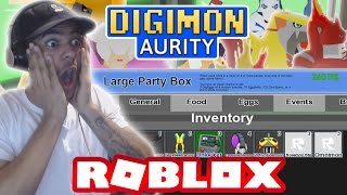 Digimon Aurity - OPENING ALOTS OF LARGE PARTY BOX - GETTING ALOTS OF BURST MODE ITEMS!!! (Roblox)