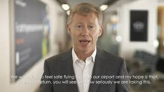"A ""welcome back"" message to passengers from CEO Robert Sinclair."