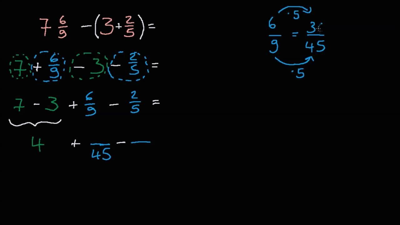 Gemischte Zahlen subtrahieren: 7 6/9 - 3 2/5 - YouTube