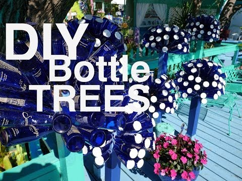 "DIY: Make a Dr. Seuss-looking ""Bottle Tree"" with Beer, Wine, and Water Bottles"