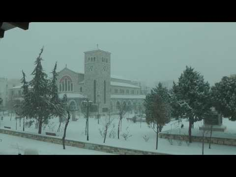 snow at Volos Greece timelapse