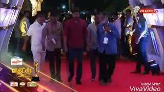 Thalapathy Vijay Mass Entry In Vikatan Awards 2018 - Bairavaa Theme Mix