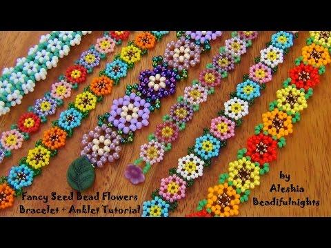 Fancy Seed Bead Flowers Bracelet Tutorial