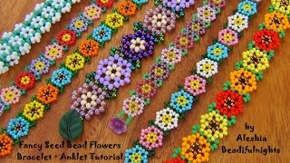 Fancy Seed Bead Flowers Bracelet Tutorial