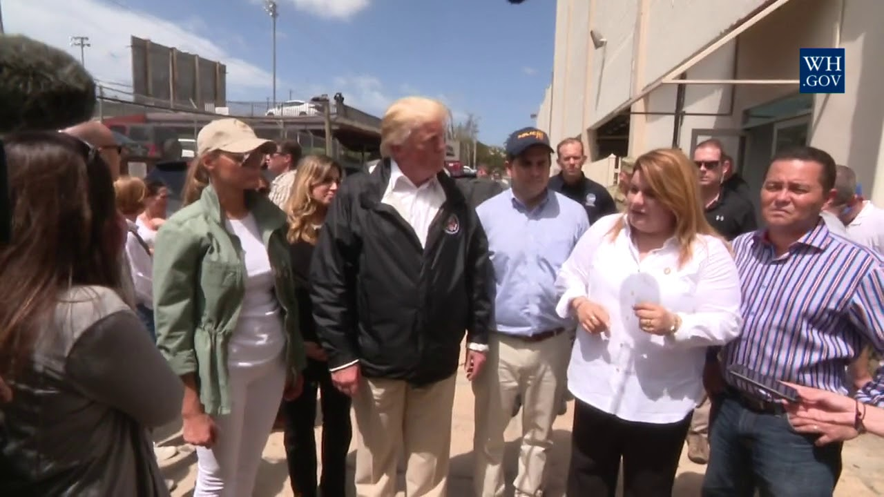 Hasil gambar untuk President Trump and the First Lady are in Puerto Rico to visit with individuals impacted by Hurricane Maria and receive a briefing on relief efforts.