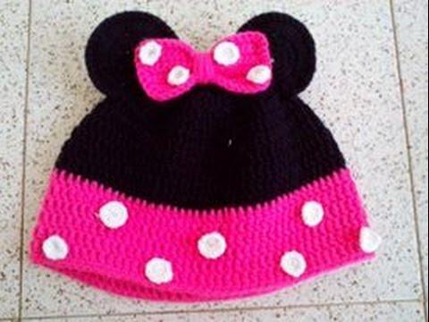 Gorro de Minnie Mouse en Crochet - YouTube