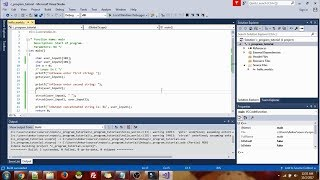 Program in C to use string functions using visual studio
