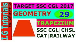 GEOMETRY for SSC CGL-29|Trapezium and its properties|Advance maths for SSC CGL|CHSL[IN HINDI]